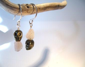 Morpheus: pyrite skull and natural druzy agate earrings