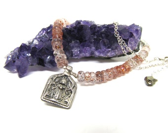 The Deity: authentic vintage silver cast deity pendant, included quartz, sterling silver chain and pyrite detail necklace