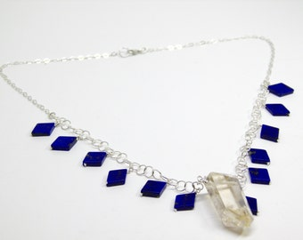 Diamond-shaped lapis and natural citrine point necklace.