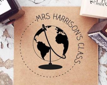 Map Wedding Stamp Address Stamper- 10124 Globe  Stamp World Stamp Self-inking Address Stamp Personalized Stamp Map Stamp