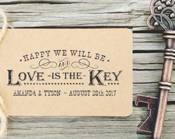 Key Wedding Favors Tag Rubber Stamp Love and An Open Bottle | Etsy