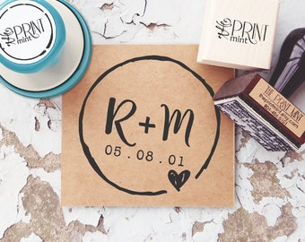 Wedding Stamp Custom Save The Date Rustic Favor Invite Self Inking Rubber 10088
