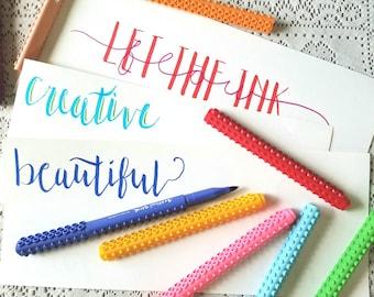 artline brush markers calligraphy pen set ombre etsy