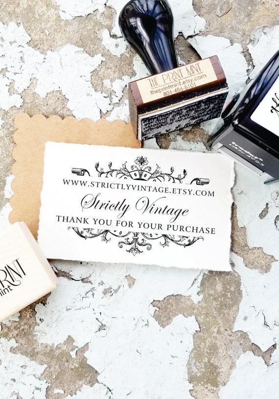 Vintage Custom Business Card Stamp Elegant Business Logo Etsy