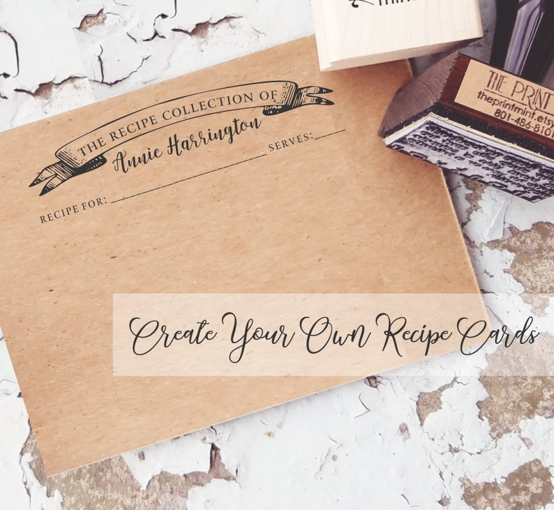 Recipe Cards Rubber Stamp Personalized Recipe Card Stamper Self Inking Or Wood Mother S Day Gifts Gift For Mom Or Grandma 10348