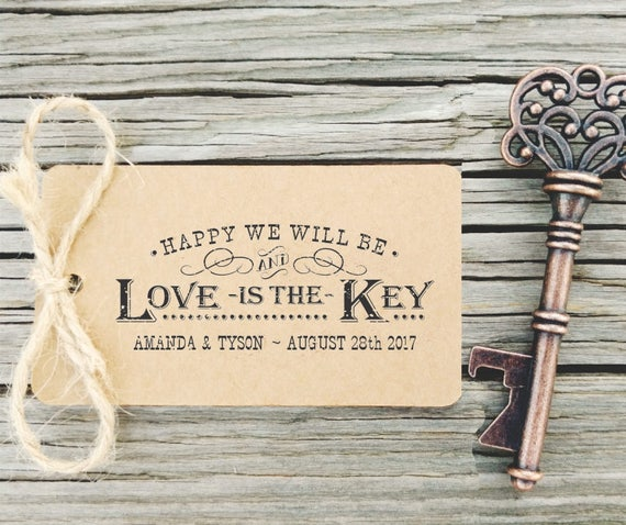 Key Bottle Openers Tag Rubber Stamp Love is the Key Rustic | Etsy