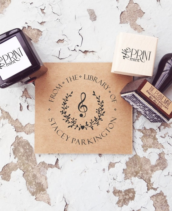 Library Stamp Custom Music Book Self Inking Stamp Or Rubber