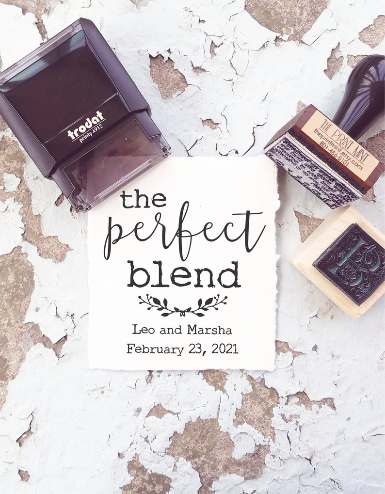 The Perfect Blend Stamp For Coffee Wedding Favors And Tags Etsy