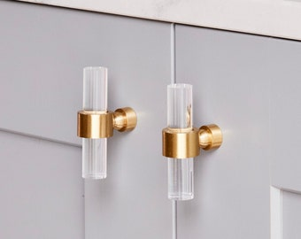 Slim Lucite Knob - Crown Post (Polished Brass & Satin Brass)  - Cabinet Hardware - Toggle - Door Handle - 1/2 in DIA - LuxHoldups