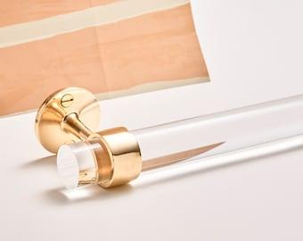 Lucite Towel Bar (Polished Brass, Satin Brass) Traditional Open Brackets - Lucite Towel Holders - Towel Rack - Towel Bar - LuxHoldups