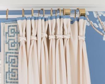 "1.37"" DIA Lucite Curtain Rod (Polished Brass, Satin Brass or Nickel) - Lucite Curtain Rod -  Drapery Rod - Custom Curtain Rod - LuxHoldups"