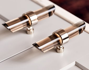 Smoke Lucite Drawer Pull Handle - Cabinet pull - Tapered - Polished Brass, Satin Brass, Nickel, Chrome Finishes - LuxHoldups