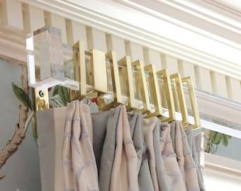 Lucite Rectangular Curtain Rod (Polished Brass, Satin Brass or Nickel) - Custom Length Curtain Rod - Lucite Drapery Rod - LuxHoldups