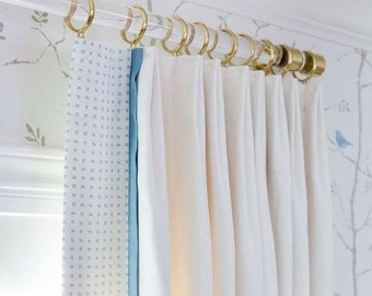 "1.37 "" DIA (97 ""  - 160"" ) Custom Lucite Curtain Rod w/ (4) Polished or Brushed Brass or Nickel Brackets"