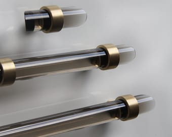 "3/4"" DIA Smoke Lucite Drawer Pull - All Finishes"