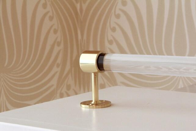 Lucite Towel Bar Modern End Brackets Polished Brass | Etsy