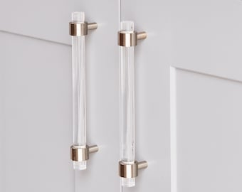 Lucite Drawer Pulls - Nickel, Chrome - 1/2 DIA  Handles - Lucite Handles - Cabinet Knobs -  LuxHoldups