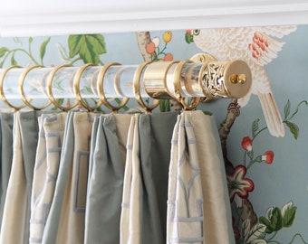 "1.5"" DIA Custom Lucite Drapery Rod (Polished Brass, Satin Brass or Nickel) - Lucite Curtain Rod - Custom Curtain Rod - LuxHoldups"