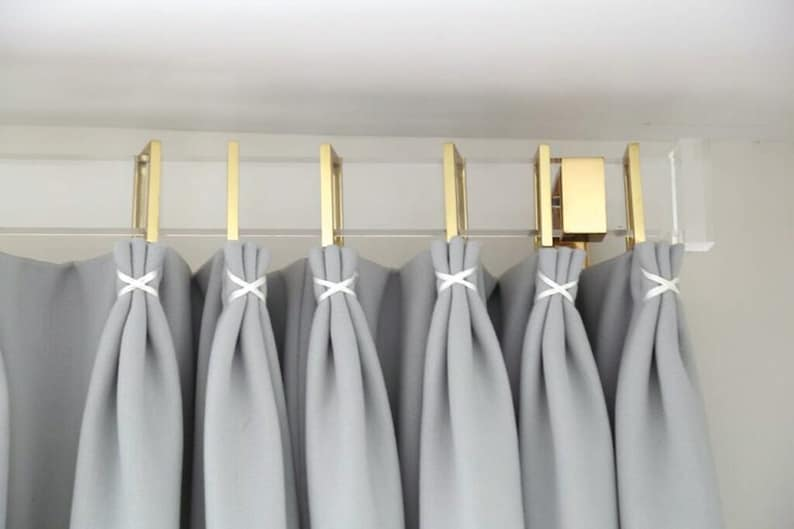 Lucite Rectangular Curtain Rod Polished Brass Satin Brass or image 0
