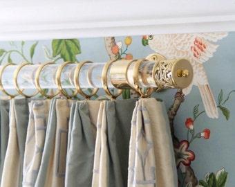 "1.5"" DIA (35""  -114"" ) Custom Lucite Curtain Rod  w/ Brass or Nickel Brackets And Center Bracket"