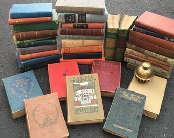 ANTIQUE Lot of 12 Old Vintage Books Novels Stories Literature Hardcover Pretty Covers Rustic