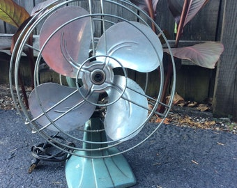 Antique Electric Fan Mint Green Silver Blades Vintage Retro Working Condition
