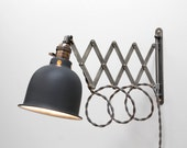 Scissor Lamp Articulating Adjustable Brass Swing Sconce - Industrial Wall Mount Extension Bedside Reading Light w Antique Patina -Style X3