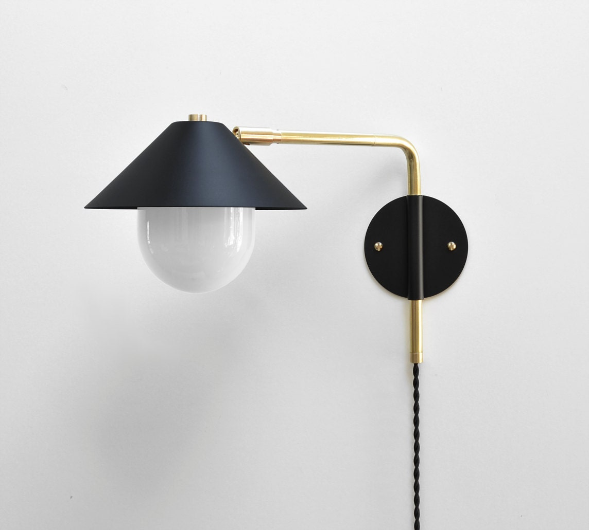 Modern brass swing arm sconce 12 16 or 20 inch extension adjustable lamp bedside lamp wall light the ufo 180
