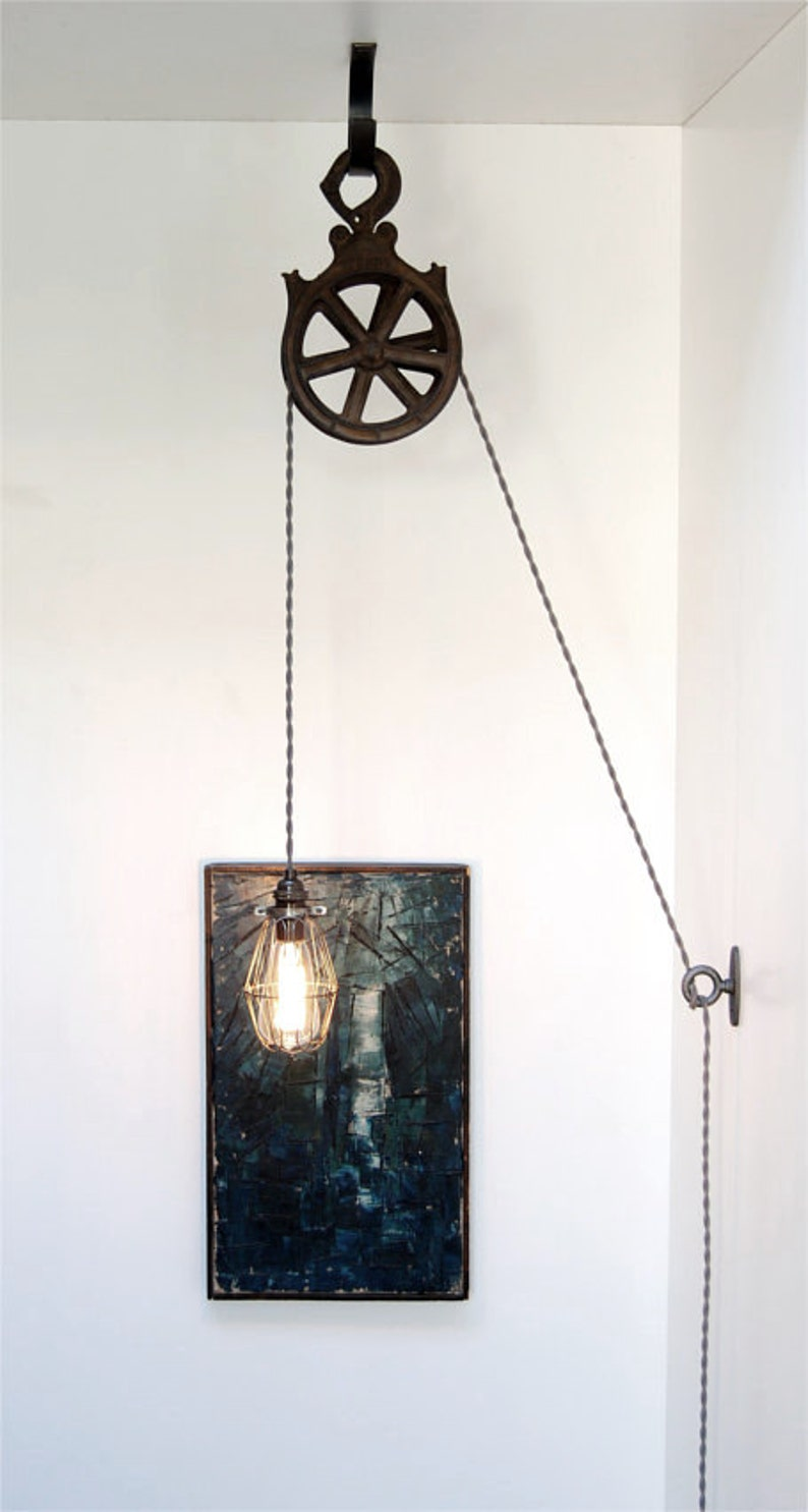 DIY Kit for Antique Cast Iron or Wood Pulley Lamp - Vintage Industrial  Edison Fixture