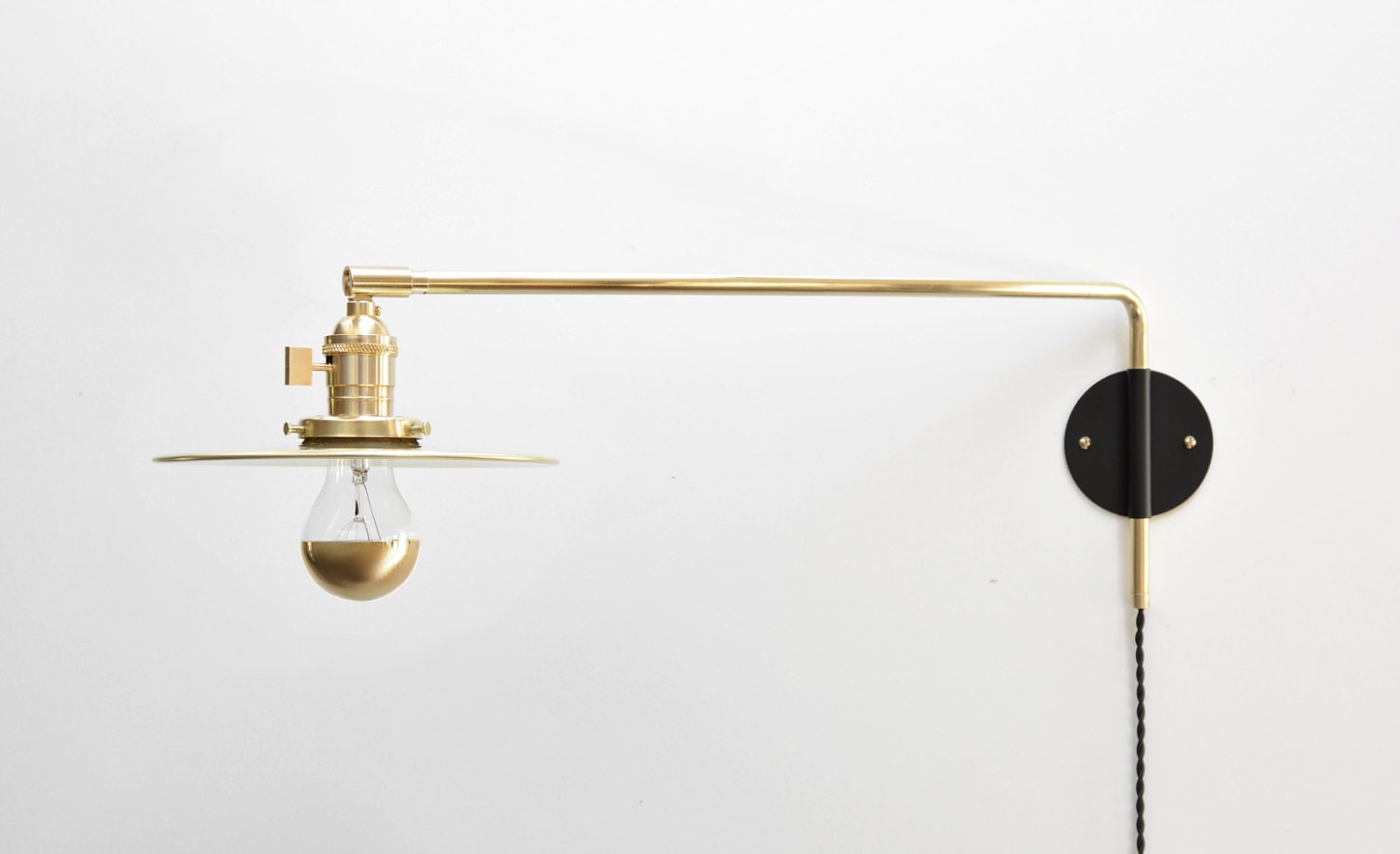Modern industrial brass swing arm sconce 14 20 or 26 inch extension adjustable lamp bedside lamp wall light the szabo