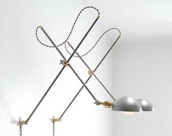 "Vintage Style Adjustable Wall Mount Extension Boom Light Lamp - Industrial Articulating Parabolic Brass & Steel Scissor Sconce ""Worcester"""