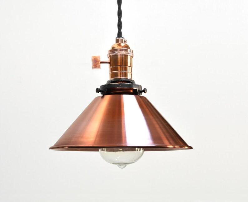 superior quality 19d53 3a9c6 Copper Pendant Light - industrial Pendant Light - Vintage Antique Retro -  Edison Swag Lamp - Antiqued Weathered Copper - Cone Shade - H6