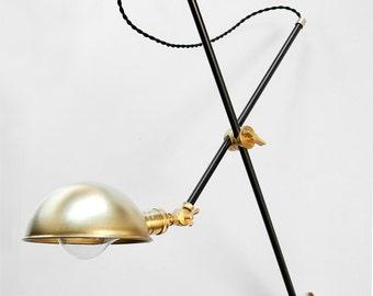 Wall Lamp - Adjustable Lamp - Bedside Lamp -  Extension Lamp - Boom Lamp - Sconce - Articulating Industrial Black & Brass Scissor Lamp Light