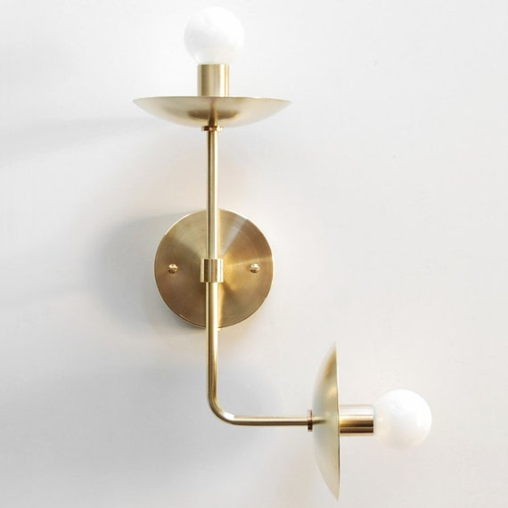 Modern Wall Lamp Modern Sconce Modern Wall Light Up Down Double Bulb Brass Sconce Modern Brass Lamp