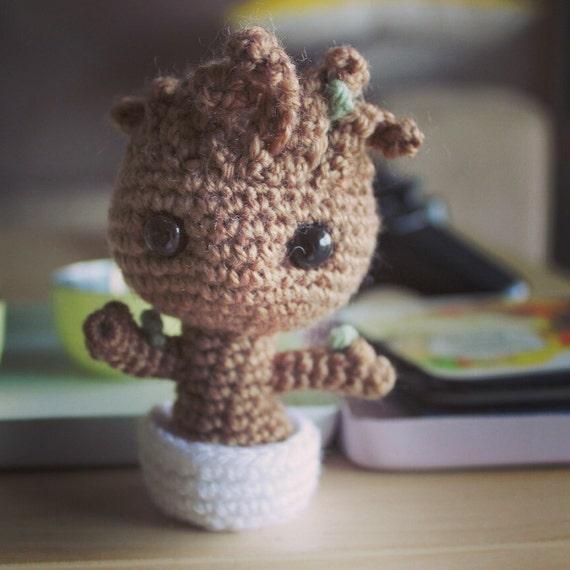 Baby Groot Amigurumi Häkeln Plüsch Hüter Der Galaxy Puppe Etsy