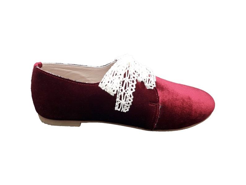 Margo Shoes Woman Red Velvet Oxfords Handmade Woman Velvet Oxfords.