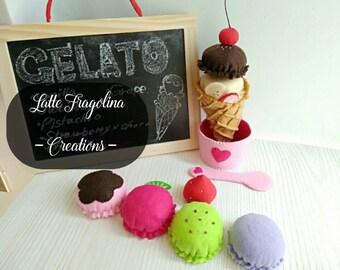 Ice cream set felt toys (small) - Felt food toys for children