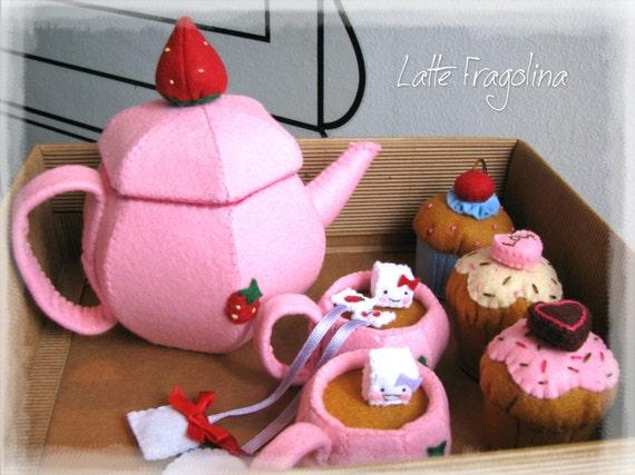 Felt Food Toys R Us : Tea set felt toys food for childrentea pot and