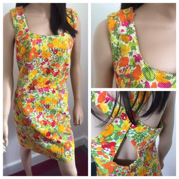 1960s Summer Cocktail Dress - 1960s Summer Dress -