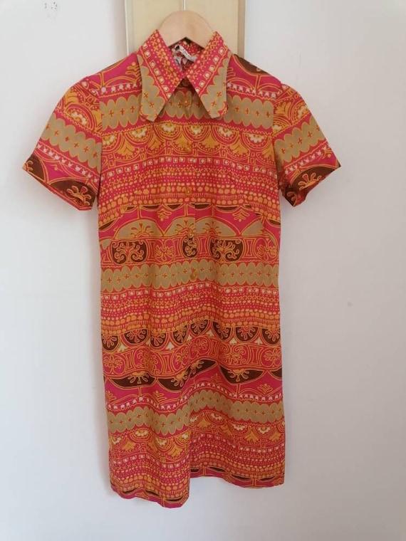 1970s Mandarin Vintage Dress - 1970s Mini-dress -… - image 7