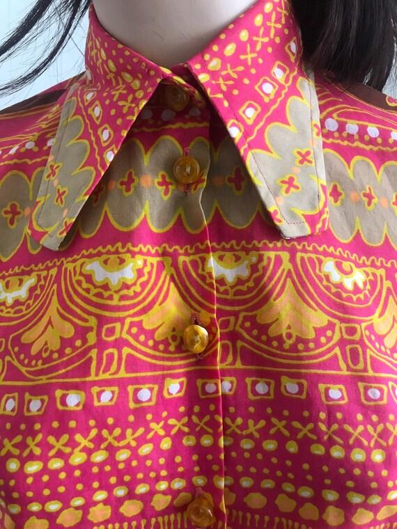 1970s Mandarin Vintage Dress - 1970s Mini-dress -… - image 5