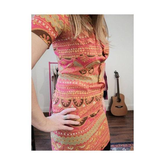 1970s Mandarin Vintage Dress - 1970s Mini-dress -… - image 2