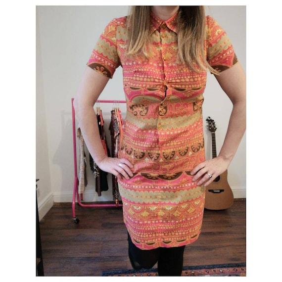 1970s Mandarin Vintage Dress - 1970s Mini-dress -… - image 1