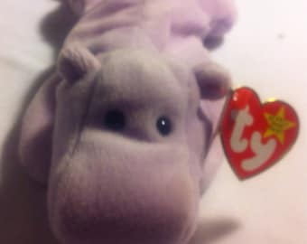 a3ebd6fb2ed Retired TY Beanie Babies Happy the Lavender Hippo PVC Pellets with Swing  Tag and Tush Tag