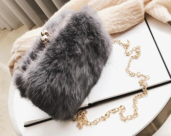 BLACK COLLECTION--Minimalism Gray Faux Fur Clutch Box  8a13ecb9f1355