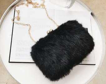 BLACK COLLECTION--Minimalism Faux Fur Clutch Box  40cbbcb80ac84