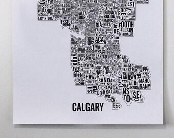 Calgary City Map Poster - Calgary Art - Alberta Map - Typography Map