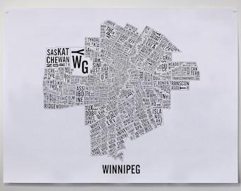 Winnipeg Manitoba City Map Poster - Winnipeg Art - Winnipeg Map - Typography Map