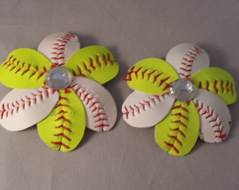 84fd930d44868 Softball and Baseball Combo Flip Flop Clips and Hair Clips