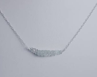 Aquamarine & sterling silver chain necklace. March birthstone birthday gift